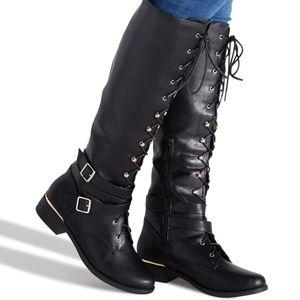Combat Moto Style Boots Knee High NIB Size 8